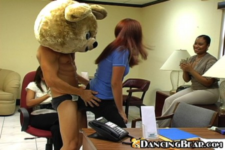dancing bear party in the office
